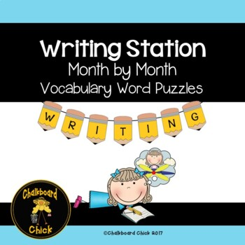 Writing Station Month by Month Words with Pictures