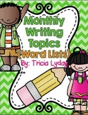 Writing Station Monthly Word Lists {September-May}  Writing Paper too!