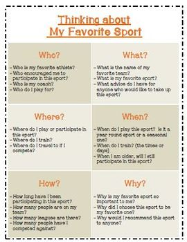 Recount Writing - Favorite Sports (American Spelling)