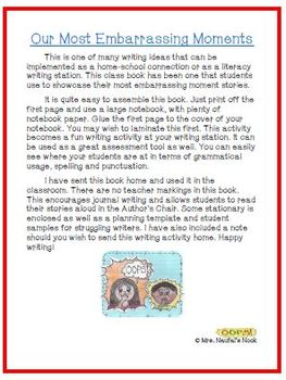 Recount Writing - Our Most Embarrassing Moments Class Book