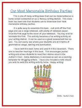 Recount Writing - Birthday Parties