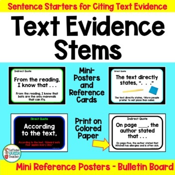 Citing Evidence Writing Stems With Mini Posters