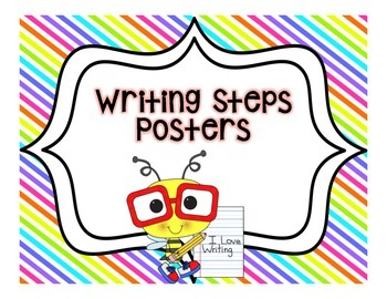 Writing Steps Posters--Bees {Color Backgrounds}
