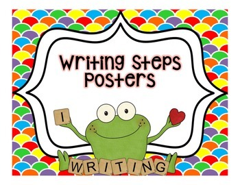 Writing Steps Posters--Frogs {Color Backgrounds}