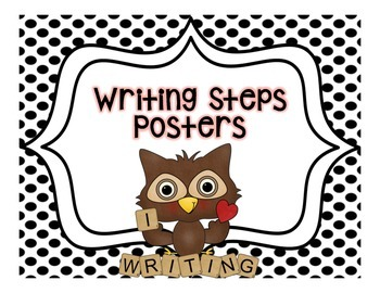 Writing Steps Posters--Owls {Black and White Backgrounds}