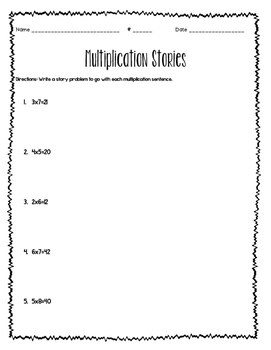 Writing Story Problems with Multiplication