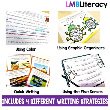 Writing Strategies Bundle! Quick Writing, Color Coding, Five Senses, Organizing