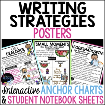 Writing Strategies Posters, Anchor Charts & Writer's Notebook Distance Learning