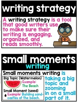 Writing Strategies Word Wall ~ 39 Writing Strategies Posters or Flashcards