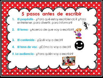 Writing Strategy Poster In Spanish