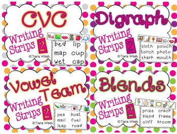 Writing Strips 2 BUNDLED {CVC2, digraphs, blends, vowel teams}