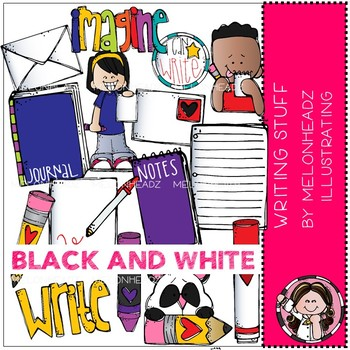 Writing Stuff Clip Art Black And White Melonheadz Clipart By
