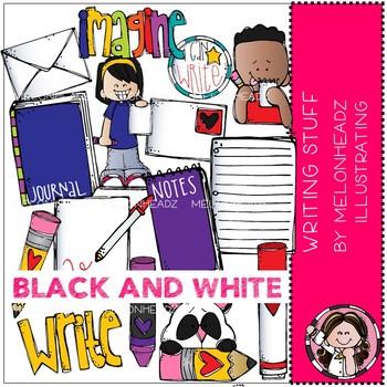 Writing Stuff clip art - BLACK AND WHITE - Melonheadz Clipart