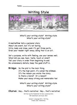 Writing Style Companion Lyrics Sheet