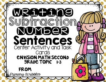 Writing Subtraction Number Sentences Center Activities and Task Cards