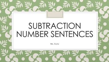 Subtraction Number Sentences FREEBIE
