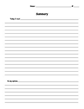 Writing Summaries - Graphic Organizer