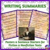 Writing Summaries: Posters & Sentence Starters for ELLs & Beginning Writers