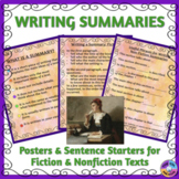 Writing Summaries: Posters & Sentence Starters for ELLs & Beginning Writers