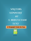 Writing Summary of a Non-Fiction Text (Paragraph Frame for ELLs)