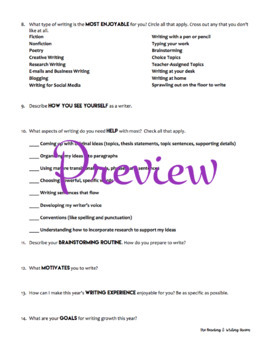 Writing Survey for Secondary Students