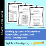 Scavenger Hunt: Writing Systems of Equations Practice (Table/Graph/Verbal)