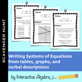 Scavenger Hunt: Writing Systems of Equations Practice (Tab