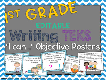 Writing TEKS Posters for First Grade *EDITABLE*