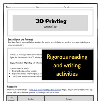 Writing Task - 3D Printing (Technology + Engineering + Reading + Writing)