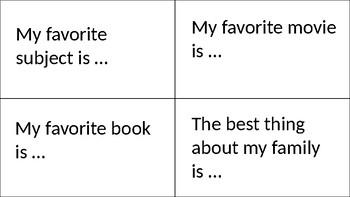 Writing Task Card and Journal Topics