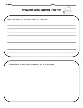Writing Task Cards:  Beginning of the Year