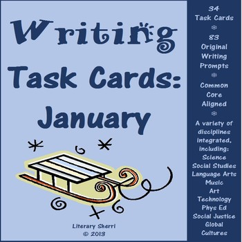 JANUARY WRITING PROMPTS | January Task Cards | January Writing Activities