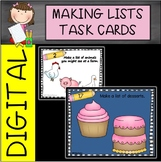 Digital and Printable Making Lists Task Cards
