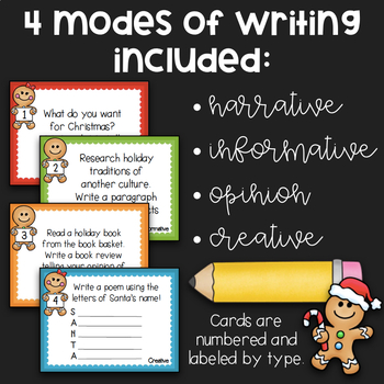 Writing Task Cards for Centers: December