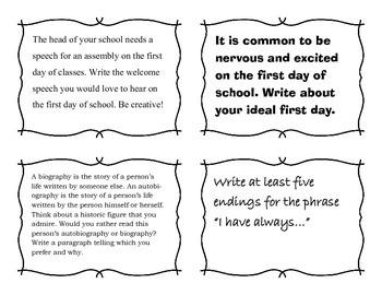 Writing Task Cards for September