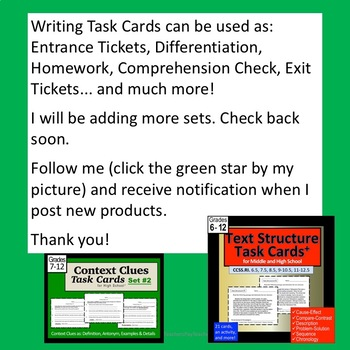 Writing Task Cards for the High School and Middle School Student Set 1