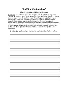 Writing Task - To Kill a Mockingbird as Class Literature