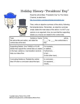 Writing Tasks for Presidents Day, Memorial Day, 4th of July, 9/11 & Veterans Day