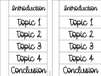 Writing Template Foldables