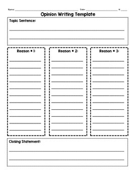 Writing Template - Narrative, Opinion, Informative