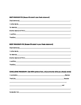 Writing Template for Opinion Essay - Series of Paragraphs Expressing An Opinion