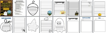 Writing Templates for Fall, Halloween and Thanksgiving