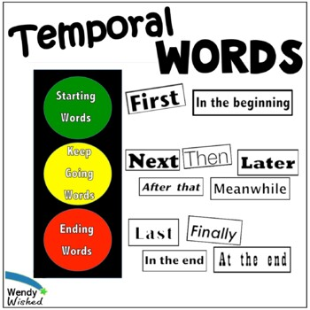Writing Temporal Words Word Wall Bulletin Board Common Cor