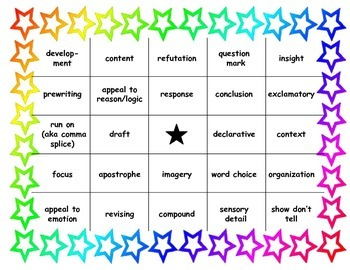Writing Terms BINGO
