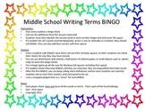 Writing Terms BINGO