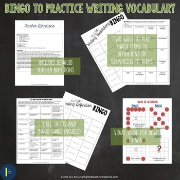 Writing Test Prep: Bingo and Matching Cards
