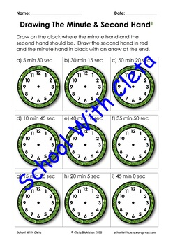 Writing The Time: Practice Drawing The Second, Minute & Hour Hand