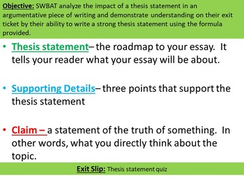 Writing Thesis Statement w/ Guided Notes and Exit Ticket