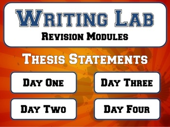 Writing Thesis Statements - Writing Lab Pre-Writing Module