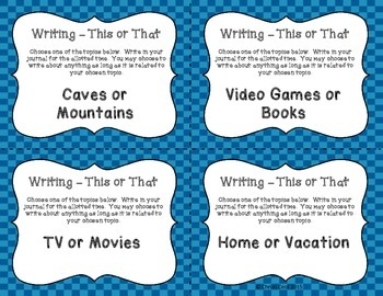 Writing - This or That Prompts - Middle School